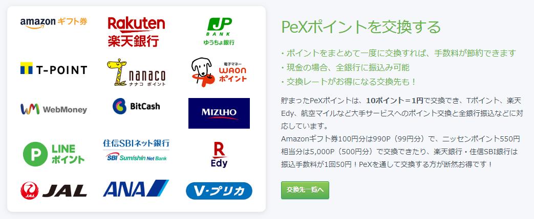 PeXポイント交換先の例